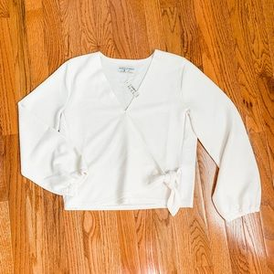 NWT Madewell Off-White Crepe Wrap Blouse  Size M